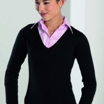 Ladies V-neck Knitted Pullover